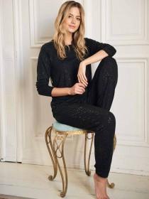 Womens Black Long Sleeve Lounge Top