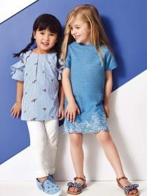 Younger Girls Light Blue Embroidered Dress