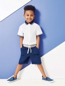 Younger Boys White Polo Collar Shirt