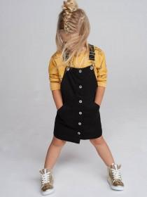 Younger Girls Black Pinafore Button Through Dress