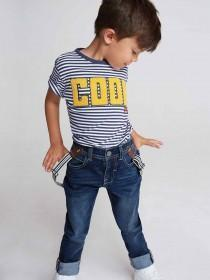 Younger Boys Stripe Slogan T-Shirt