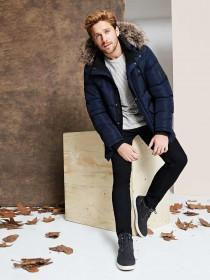 Mens Navy Padded Coat