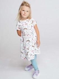 Younger Girls Cream Unicorn Dress