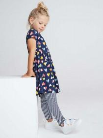 Younger Girls Navy Heart Dress