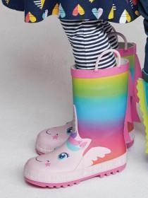 Younger Girls Multicolour Unicorn Handle Wellies