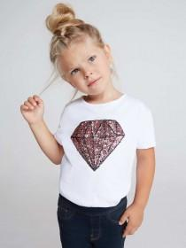 Younger Girls White Diamond Sequin Top