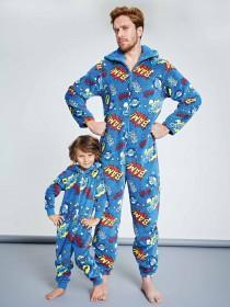 Mens Blue Comic Onesie