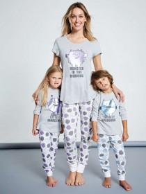 Younger Boys Grey Monster Pyjama Set