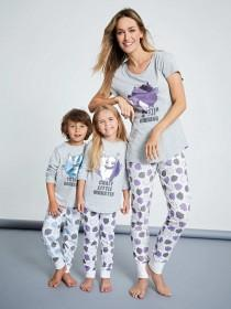 Womens Grey Monster Slogan Pyjama Set