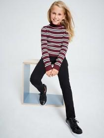 Older Girls Burgundy Stripe Jumper