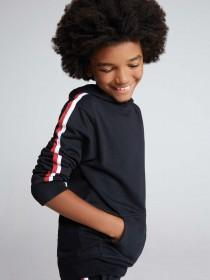 Older Boys Black Side Stripe Hoody