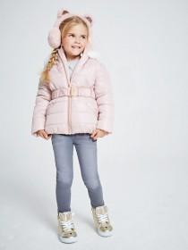 Younger Girls Pale Pink Padded Belted Coat