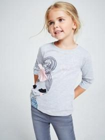 Younger Girls Grey Eyelash T-Shirt