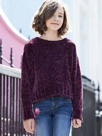 Older Girls Purple Chenille Jumper