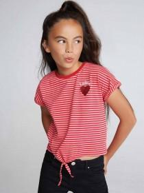 Older Girls Red Stripe Tie Front T-Shirt