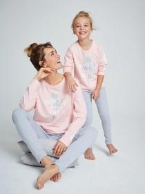 Womens Pink Power Slogan Pyjama Set