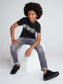 Older Boys Black Unstoppable Slogan T-Shirt