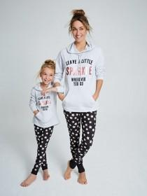 Older Girls Grey Slogan Hoody Pyjama Set