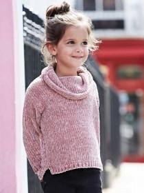 Younger Girls Pale Pink Chenille Jumper
