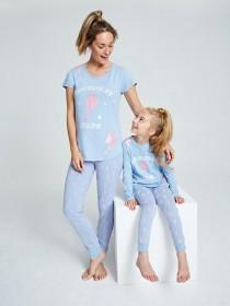 Older Girls Blue Slogan Pyjama Set