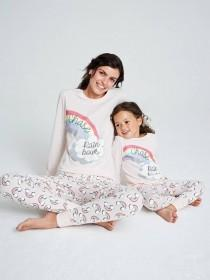 Womens Pink Rainbow Slogan Pyjama Set