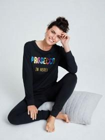 Womens Black Prosecco Slogan Pyjama Set