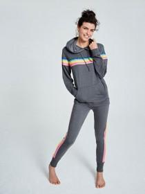 Womens Charcoal Rainbow Pyjama Set