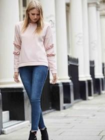 Womens Pale Pink Ruffle Sweatshirt