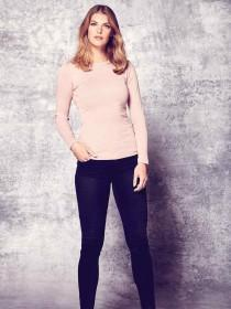 Womens Pale Pink Long Sleeve Top