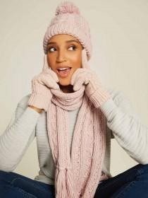 Womens Pink Cable Knit Beanie Hat