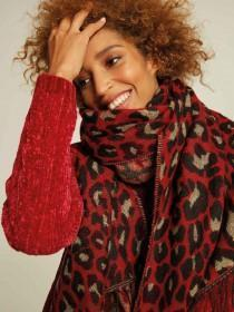 Womens Red Animal Print Scarf