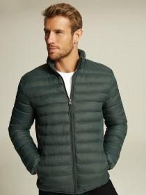Mens Green Padded Funnel Neck Jacket