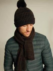 Mens Chocolate Chunky Knit Scarf