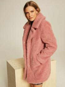Womens Dusty Pink Borg Coat