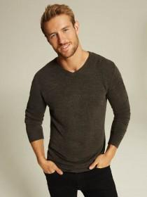 Mens Charcoal V-Neck Jumper