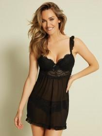Womens Black Lace Babydoll