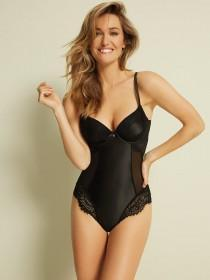 Womens Black Satin and Lace Body