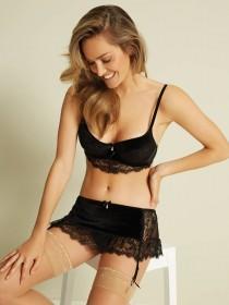 Womens Black Velvet and Lace Suspender Briefs