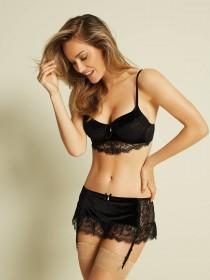 Womens Black Velvet and Lace Push Up Bra