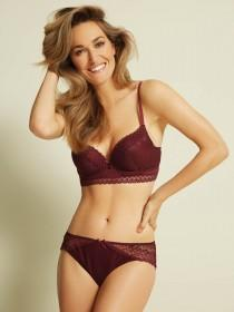 Womens Berry Long Line Lace Bra