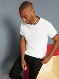 Mens White Tipped Crew Neck T-Shirt