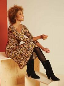Womens Black Slouch Calf Length Boots