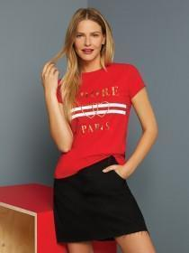 Womens Red Paris Slogan T-Shirt