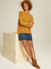Womens Mustard Embellished Jumper