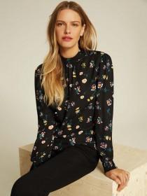 Womens Black Floral Blouse