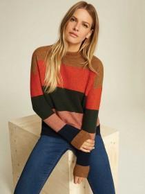 Womens Multicolour Stripe Chunky Jumper