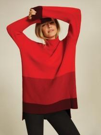 Womens Red Colour Block Jumper