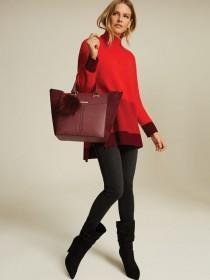 Womens Burgundy Pom Tote Bag