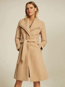 Womens Camel Belted Wrap Coat