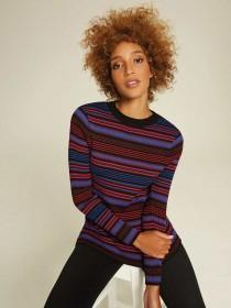 Womens Blue and Red Stripe Ribbed Top